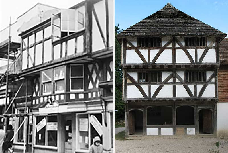 The original shop in Horsham in 1967 and the reconstruction today