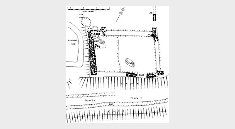 Plan of Hangleton cottage as excavated in 1952–54