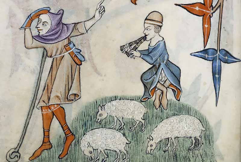 Medieval shepherds (by permission of The British Library)