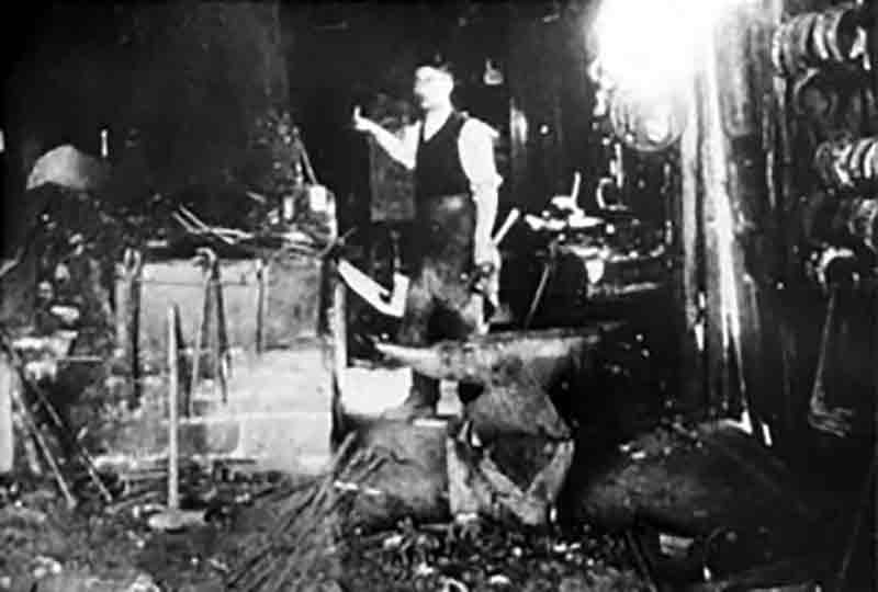 The interior of the forge from Southwater in about 1910