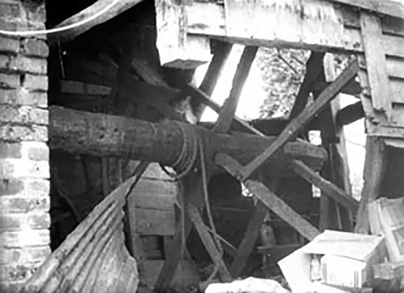 The treadwheel from Catherington before being dismantled