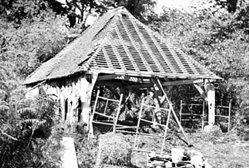 The wagon shed from Wiston on its original site before being dismantled