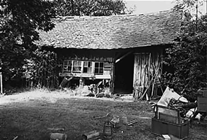 The Windlesham carpenter's shop on its original site before being dismantled