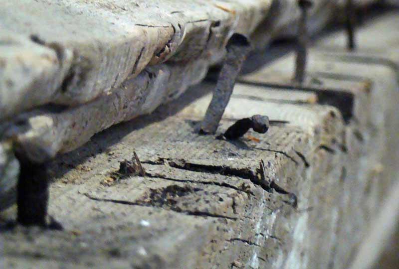 Conservation workshop showing original nails detail