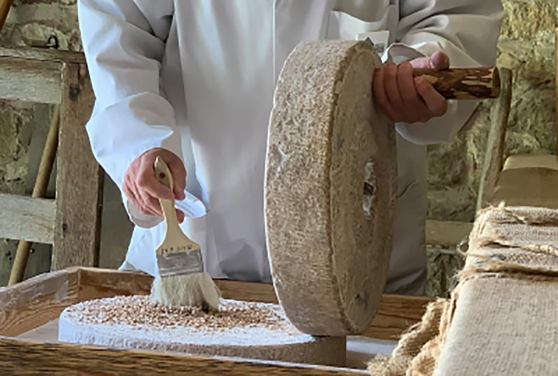 Flour making craft demonstration at the Weald & Downland Museum's bakery