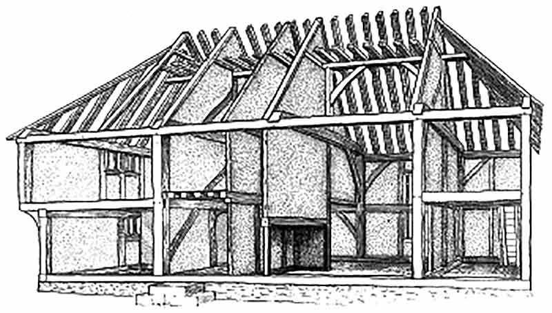 Cutaway drawing of medieval house from North Cray