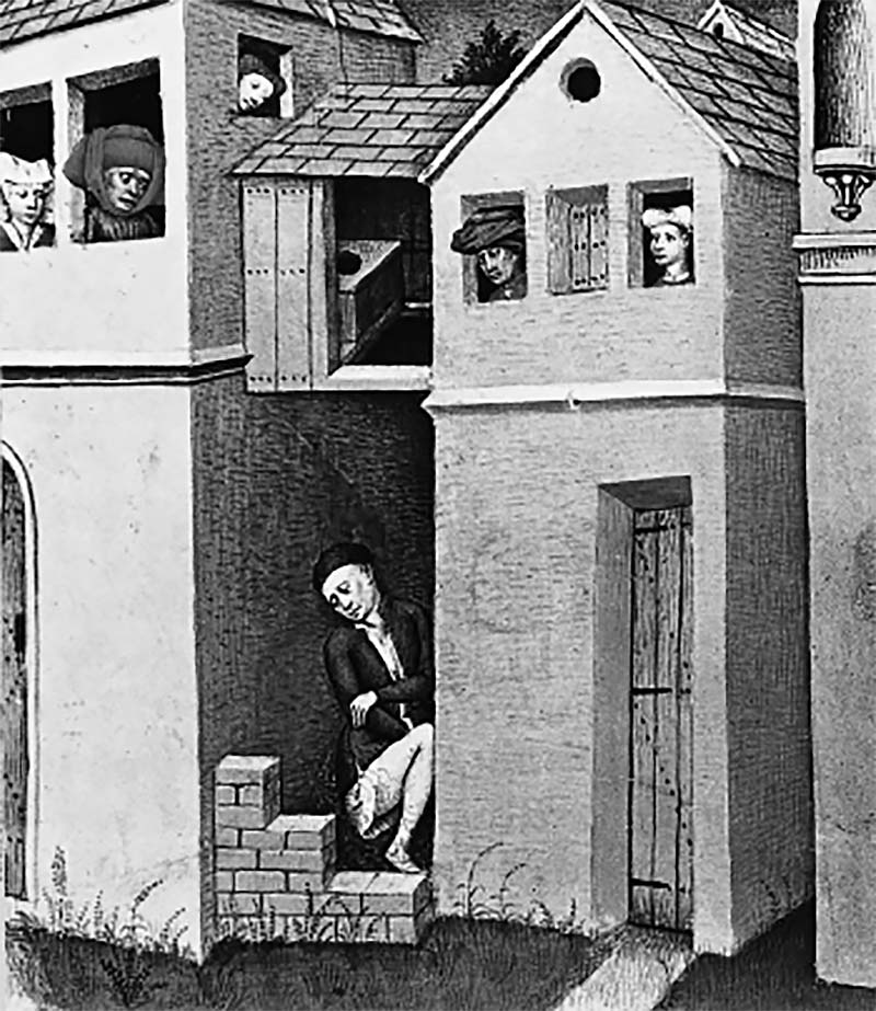 A medieval illustration showing a garderobe projecting from the wall of a house, with a cesspit below