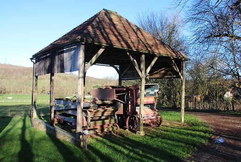 Ockley Barn with thresher