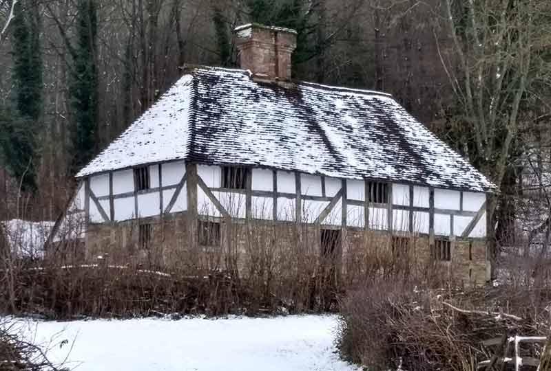 Pendean Tudor farmstead in the snow