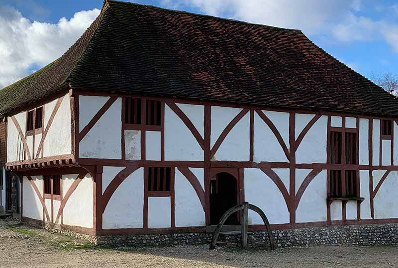 Red painted timber on medieval house from North Cray