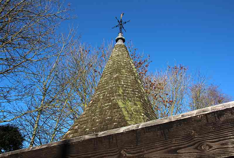 Stoughton spire with oak shingle