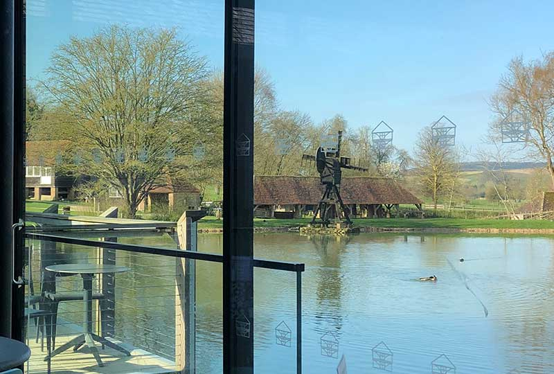 View of the windpump from the waterside cafe