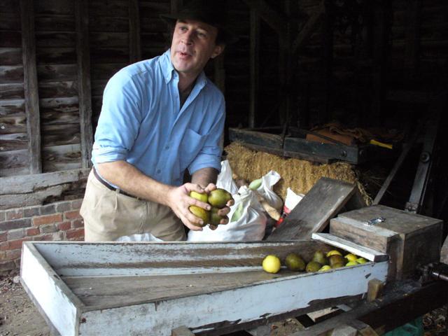 Demonstrations apple scrutting Jon Roberts feeding the apples