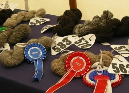 Skeins of spun wool