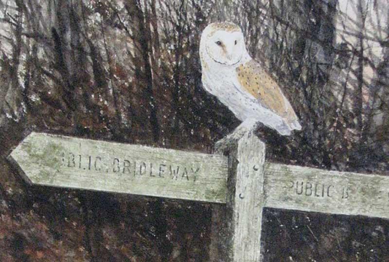 Gordon Rushmer owl on signpost artwork