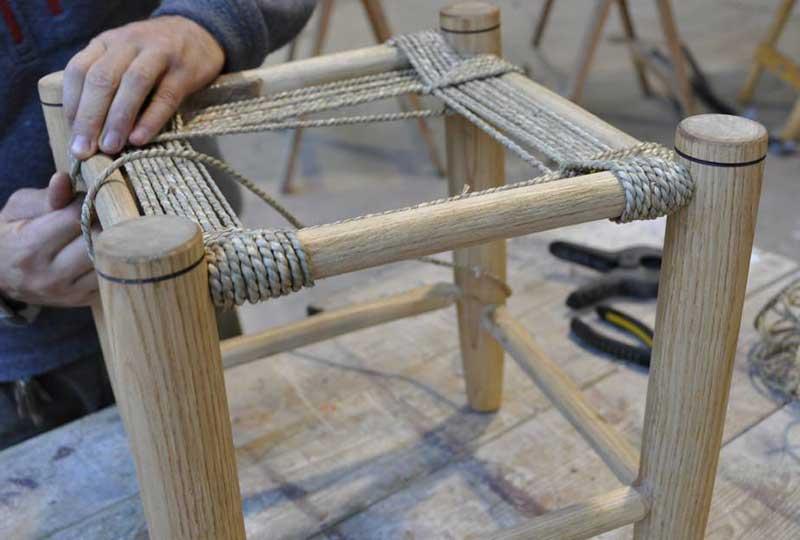 Make a woven top stool