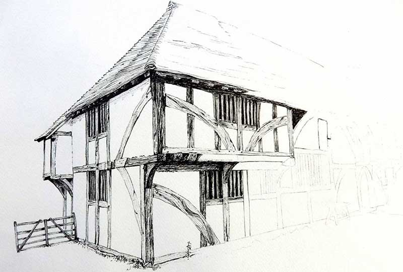 Weald & Downland Living Museum pen ink drawing