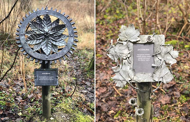 Metal signposts on sculpture trail