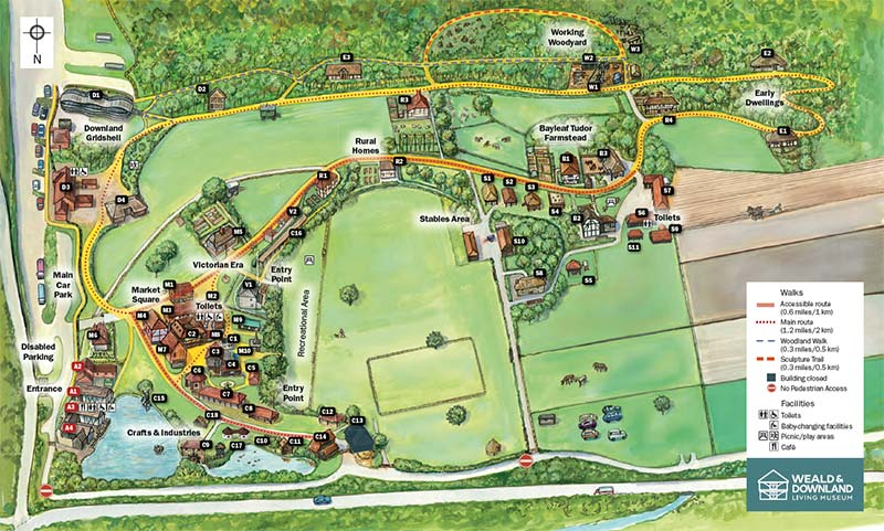 Weald & Downland Living Museum map