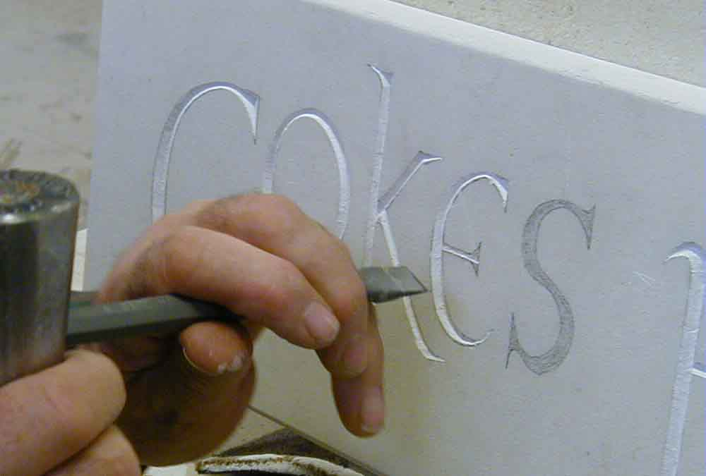Letter carving in stone
