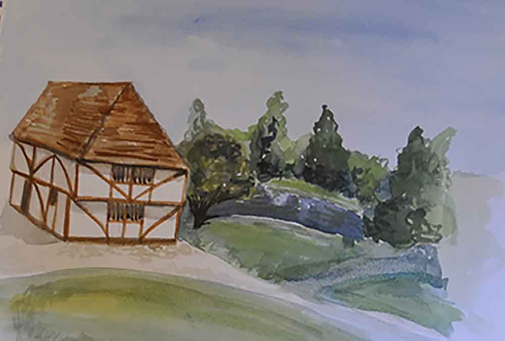 Watercolour painting of historic building